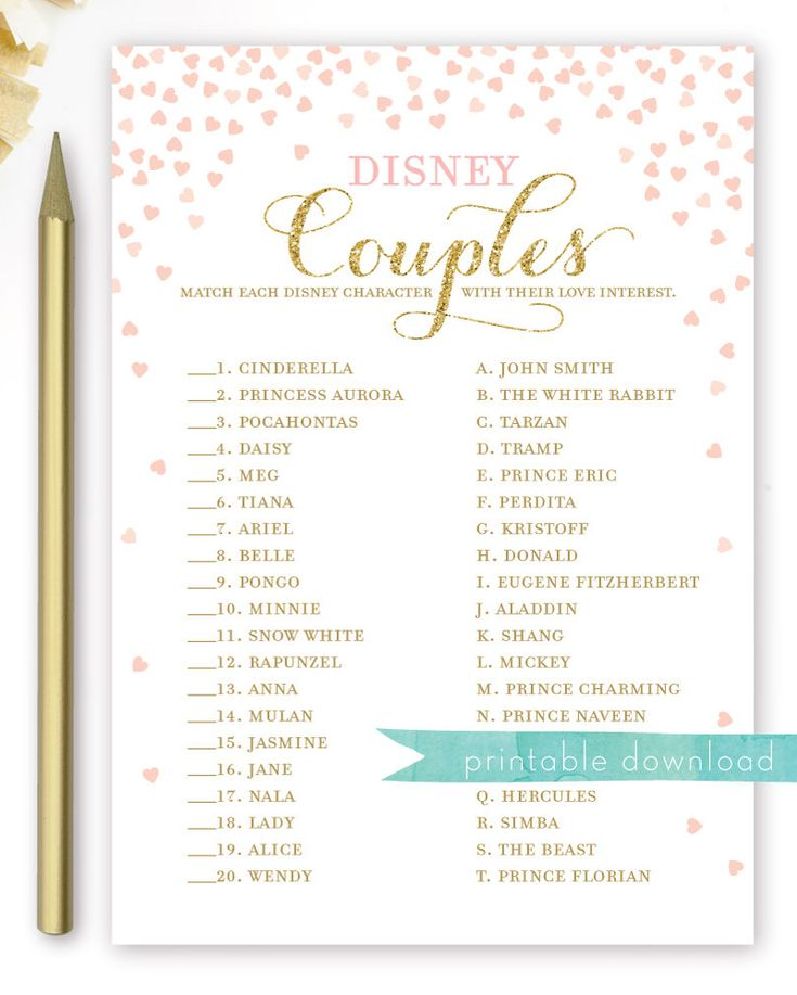 Disney Couples Bridal Shower Game Pink And Gold Bridal Etsy In 2021 Couples Bridal Shower Disney Themed Bridal Shower Disney Bridal Showers