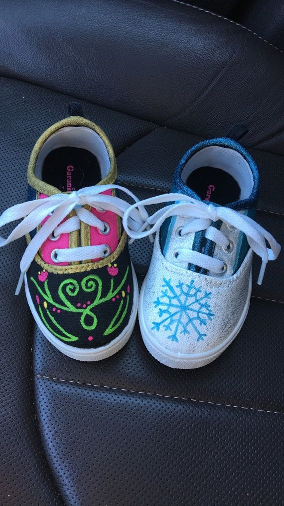Anna & Elsa Frozen custom painted shoes by ThePaintsyPeacock