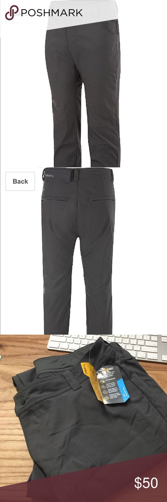 Commuter Cycling & outdoor pants Durable Water Repellent fabric keeps you dry in any weather condition. U-Lock storage loop. Zippered pocket to keep valuables safe and secure. Stretch fabric for allover comfort on and off the bike. Reflective accents provide high visibility while cycling. TRAYL Pants