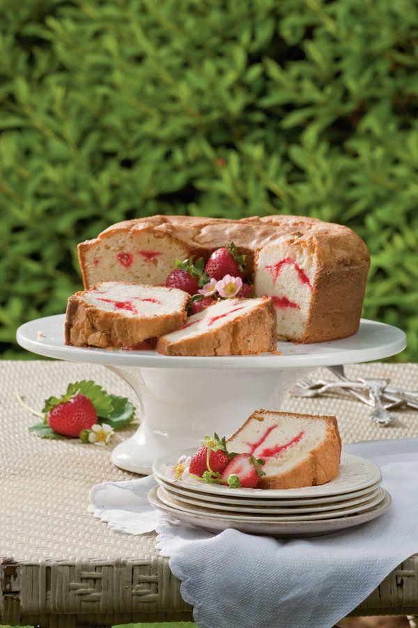 Perfect Pound Cakes. Strawberry Swirl Cream Cheese Pound Cake