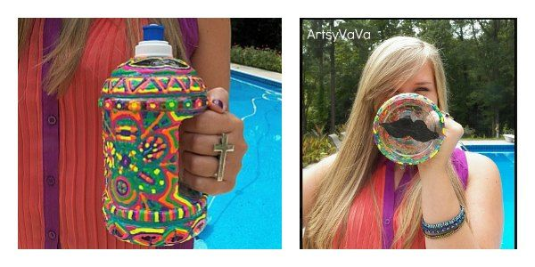 Most Clicked Crafty Link –Artsy VaVa linked up Puff Paint Water Bottle project which her teen created! It is easy to do and fun for all! We couldn't pick just one picture to share so we are sharing 2 from her project! We loved the moustache at the bottom of the water bottle!