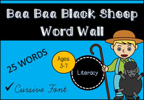 Baa Black Sheep Word Wall (Cursive Font)