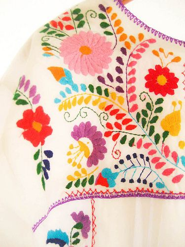 embroidered mexican flowers - Google Search