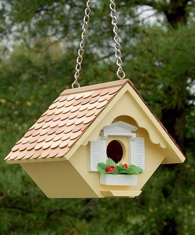 Home Bazaar Little Hanging Wren House, Yellow at BestNest.com