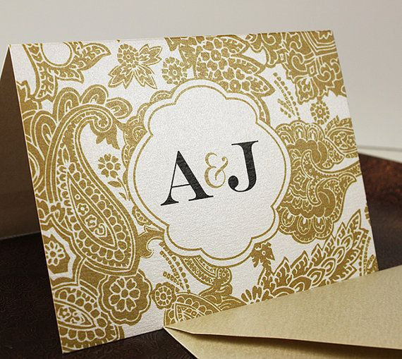 Champagne Gold Bellevue Thank You Card  Sample  by JWDPaperie, $1.00