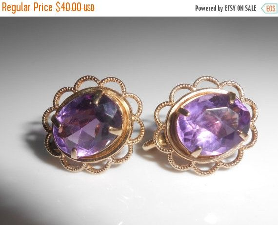 Amethyst Gold Filled Screw Back Earrings Amco by Libbysmomsvintage