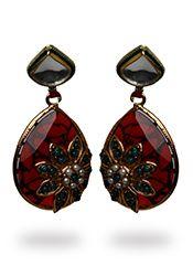 Maroon Polki Earrings