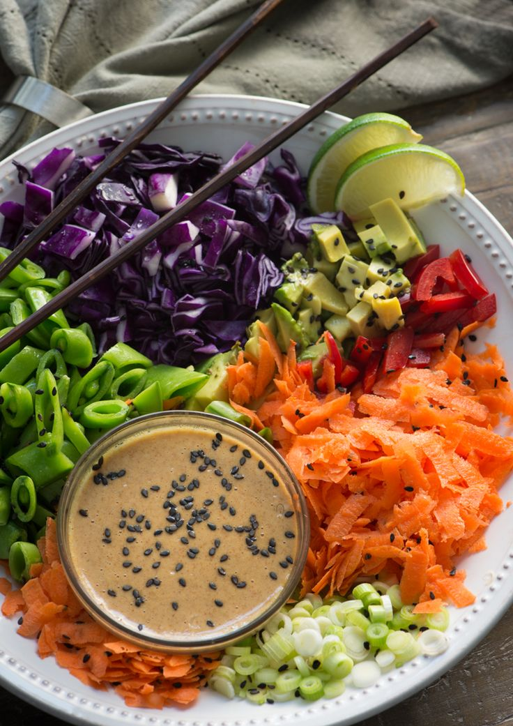 Raw Vegan Spring Roll Bowls with almond butter sauce. Rawmazing.