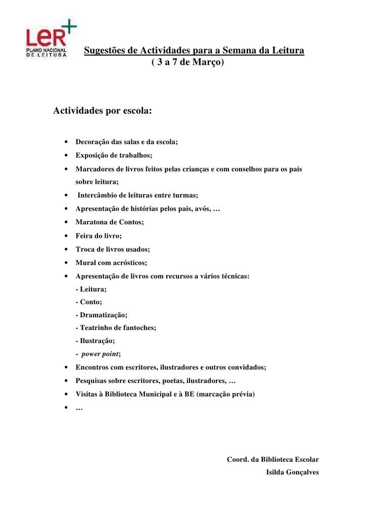sugestes-de-actividades-semana-da-leitura by isigoncalves via Slideshare