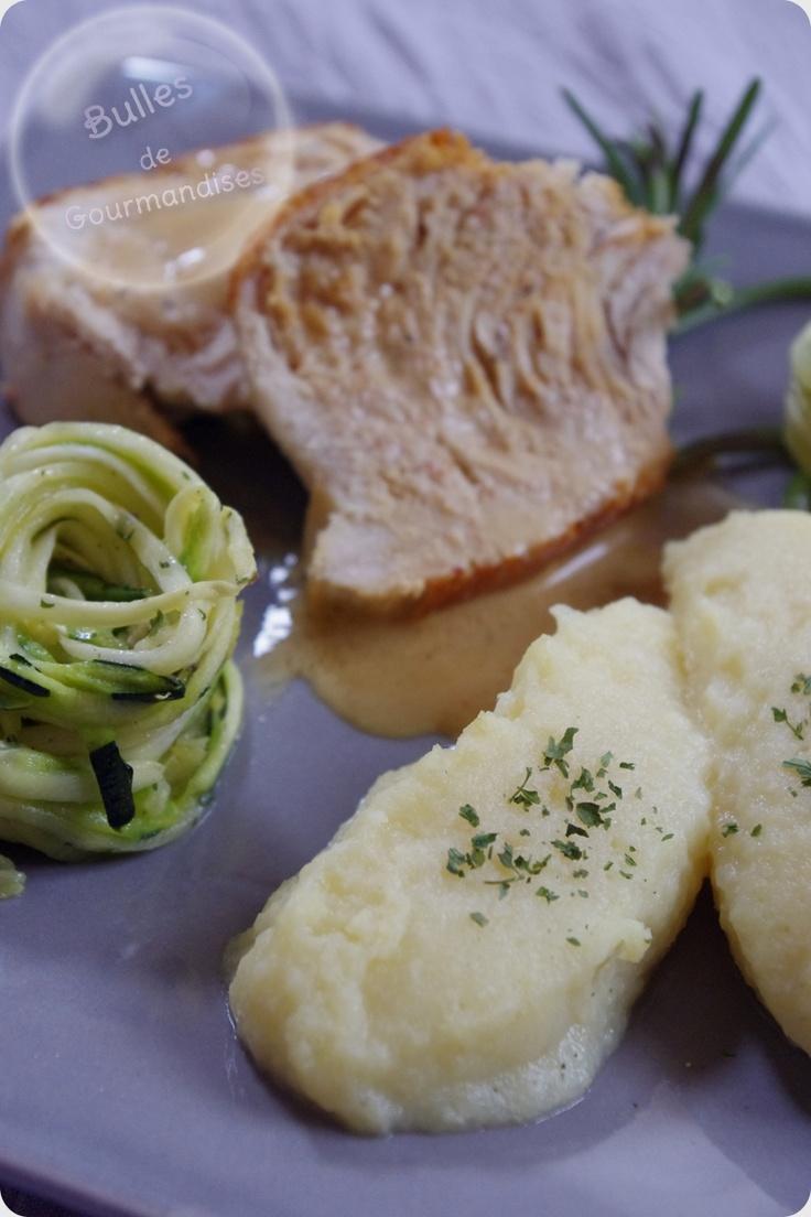 Purée de panais et filet de dinde au romarin