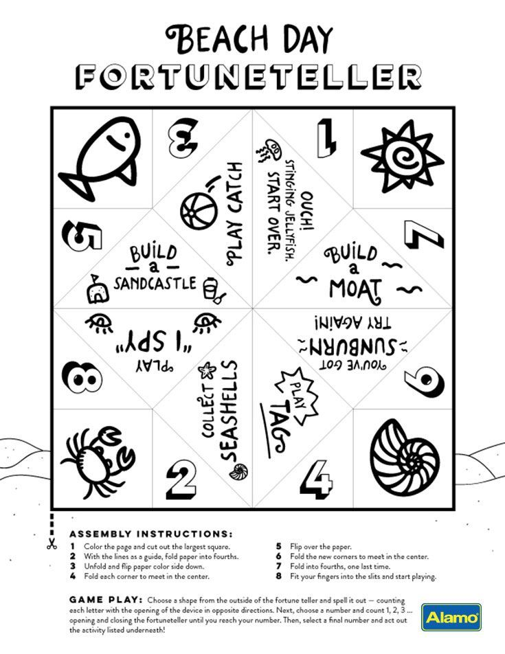 Taking a family vacation to the beach? Print this colorable activity sheet to create a beach day fortuneteller with your kids. When you're stuck deciding on the next beach activity, let the fortuneteller be your guide!