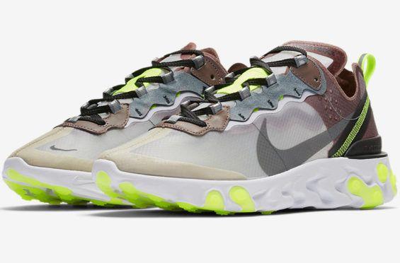 61217e036090 Nike React Element 87 Desert Sand Cool Grey Volt Coming Soon The Nike React  Element 87