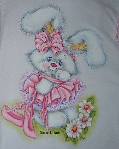 Pintura coelhinha bailarina de Nara Liane Lucena