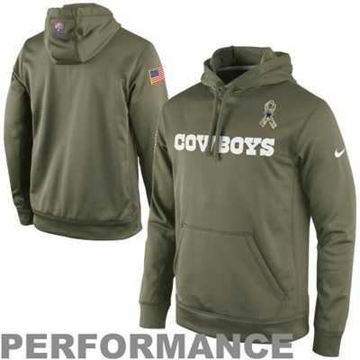 Nike Dallas Cowboys Salute to Service KO Pullover Performance Hoodie - Olive