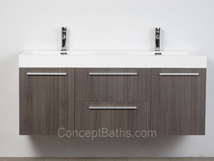 Modern Double Sink Bathroom Vanity Ideas: Wall-mounted Double Modern Bathroom Vanity Grey Oak TN