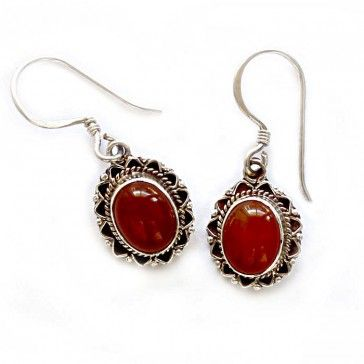 Oval Red Onyx Silver Earrings