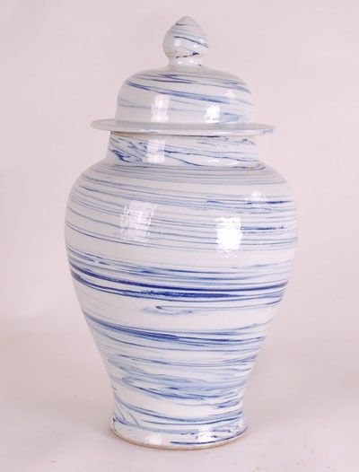 Simple Blue and White Swirl Jar from The Well Appointed House