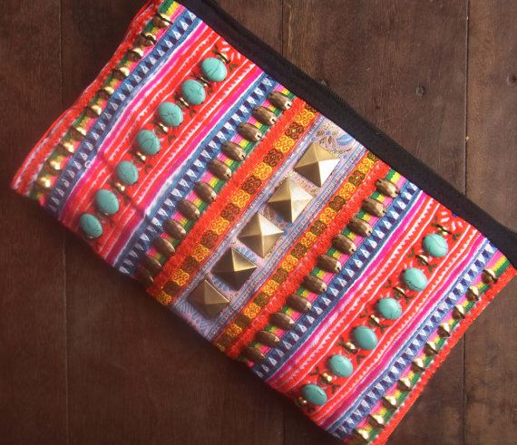 Hippie embroidery clutch // neon color // wallet // by realmlistic, $29.00