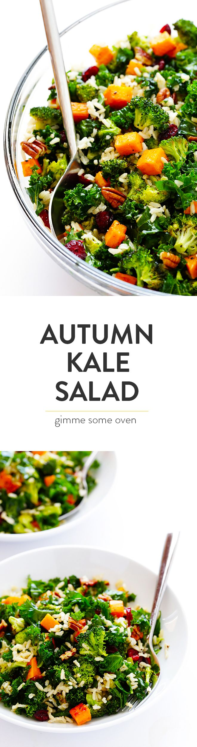 Autumn Kale Salad with Sweet Potatoes, Broccoli and Brown Rice -- a hearty, easy dinner made with my favorite fall flavors!   gimmesomeoven.com