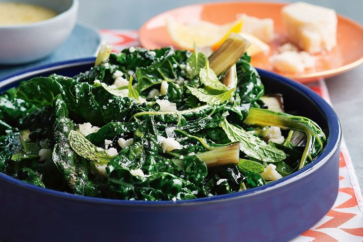 SILVERBEET, MINT AND PARMESAN SALAD. Struggle to get through a whole bunch of silverbeet? Mint and parmesan makes it thoroughly delicious.