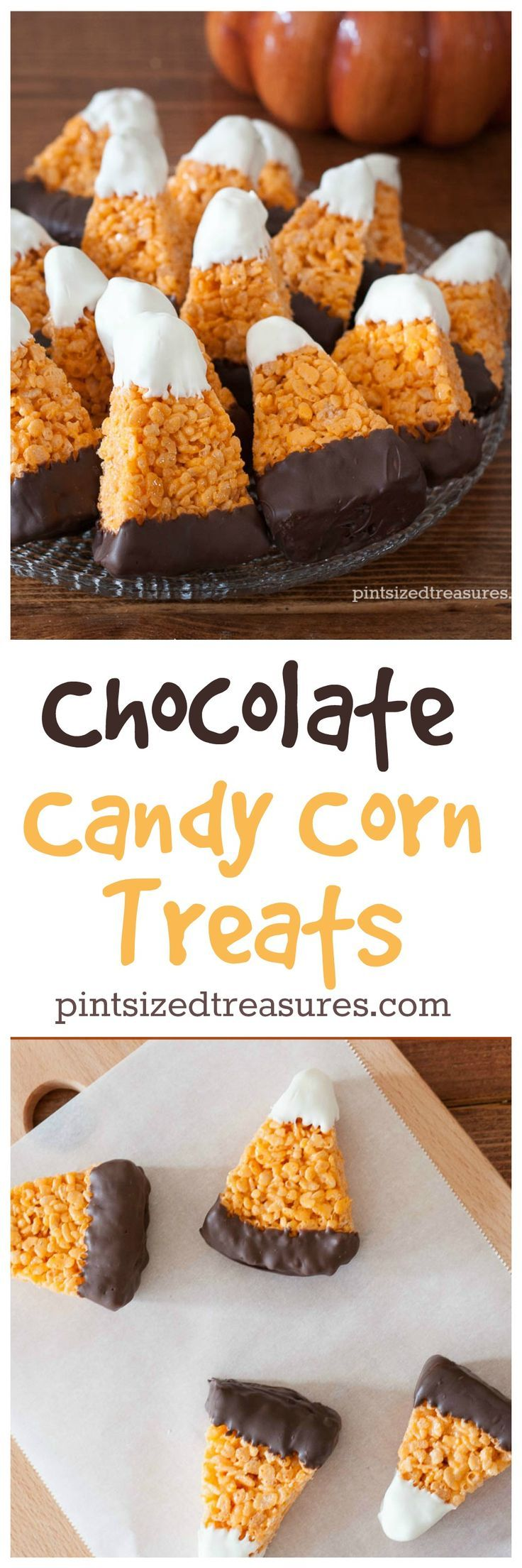 Chocolate Candy Corn Crispy Treats are super-cute. Perfect for your next fall party @alicanwrite