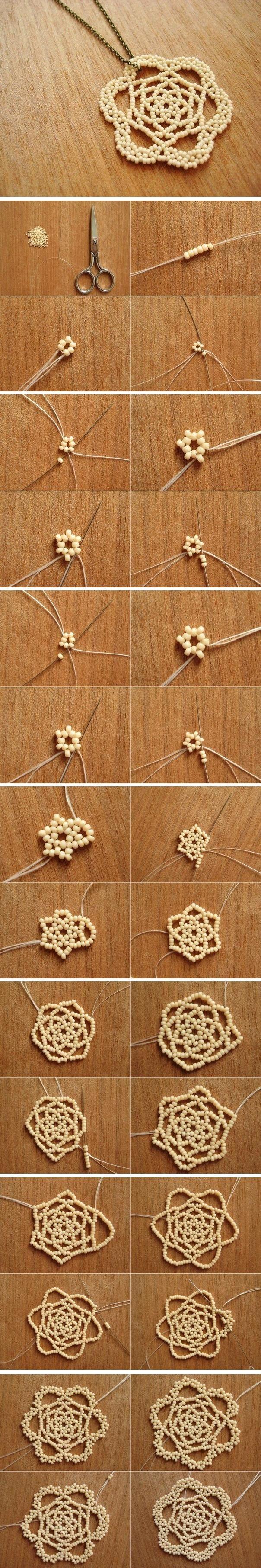 DIY Bead Flower Pendant