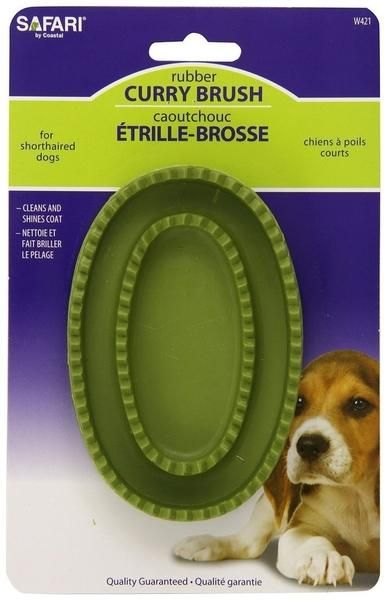 Safari Rubber Curry Hand Brush For Short Haired Dogs Short
