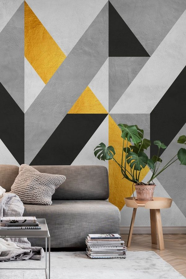 Gray And Gold Composition Wallpaper Bedroom Wall Designs