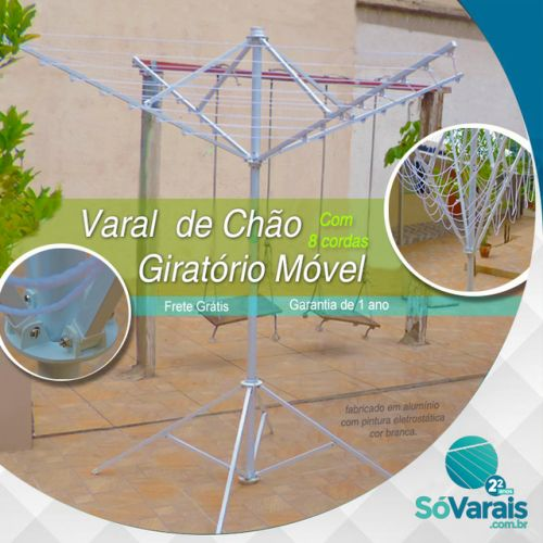 Varal de chão Giratório Móvel SóVarais   leve, fácil de montar, cabe em qualquer lugar e equivale á 25,20 mts de varal convencional. Facilita em muito a sua movimentação de um lugar para outro, mesmo carregado de roupas.    fabricado em alumínio com pintura eletrostática cor branca.    Garantia de 1 ano - frete  Grátis para todo o Brasil    www.sovarais.com.br  (11) 3151-5284 / 11- 3231-3144  #varal #varalderoupas #Varaldechão  #chacara #sitio #Dicas #Lavanderia #Quintal