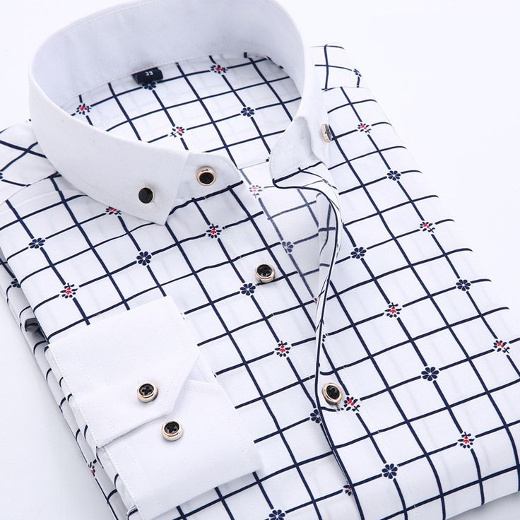 Men's Dress Shirt 2016 New Brand Fashion Style Slim Fit Lapel Long-sleeved…