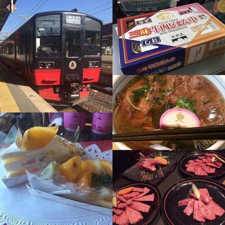 ブランド牛と観光列車を堪能するツアーの初日は朝から牛肉どまん中弁当昼は米沢牛ラーメン夜に米沢牛の焼肉で〆観光列車はフルーティアふくしま