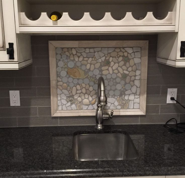 A Backsplash Mural In Quite The Unique Kitchen. Sitting