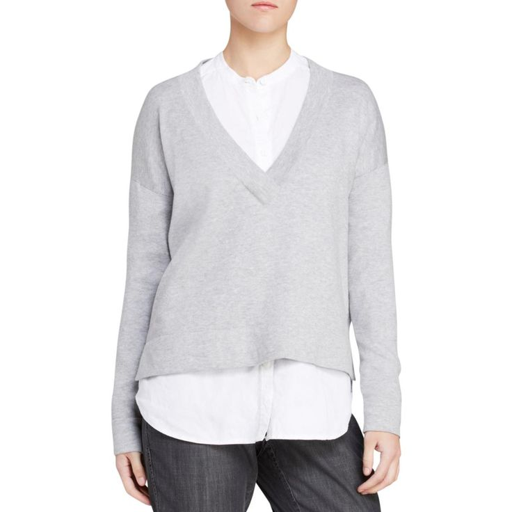 Eileen Fisher Womens Heathered V-Neck Pullover Sweater