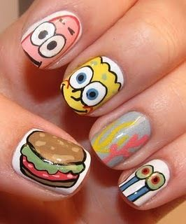 Fun themed nail art with Spongebob, Patrick, Gary, seaweed, and of course a Krabby Patty!