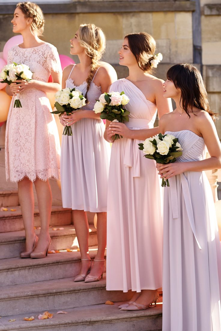 Bridesmaid dresses for all of your leading ladies. Different length dresses always look great in wedding pictures and add a sense of fun to the big day. Dressing your bridesmaids  for your wedding couldn't be easier!