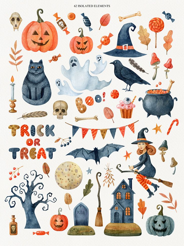 Happy Halloween watercolor set in 2020 Halloween symbols