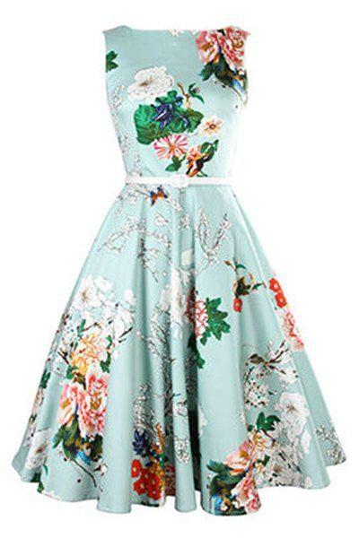 Vintage Jewel Neck Floral Print Sleeveless Belted A-Line Dress For Women