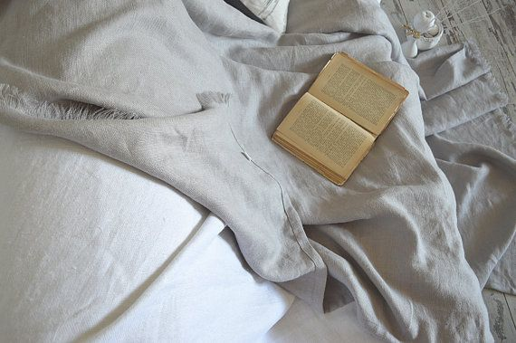 Heavy weight linen throw blanket - Soft  linen throw - Thick (400g/m2) linen bed cover - Natural Baltic linen blanket - Silver grey bedding