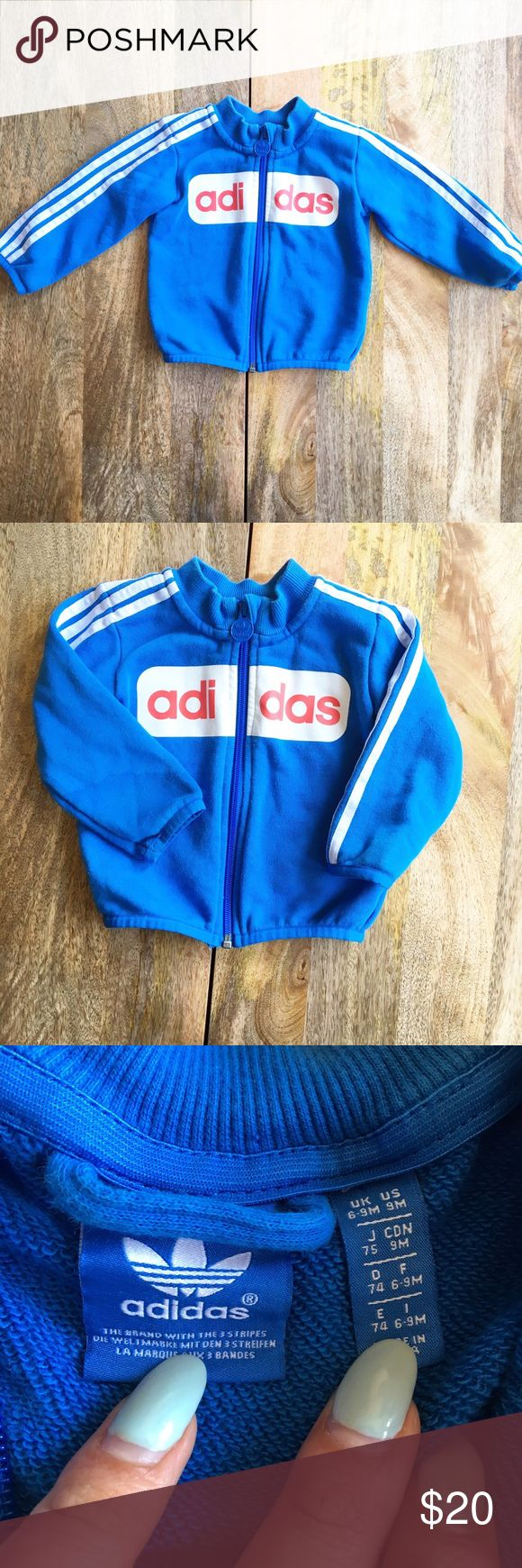 Infant Adidas Zip Up Item: Infant Adidas Zip Up   - Size: 6-9M - Material: Cotton/Poly  - Condition: GUC  - Color: Blue/White/Red      * Almost all my prices are negotiable and no offer offends me! * 🦄BUNDLE FOR 30% OFF!🦄 Adidas Jackets & Coats