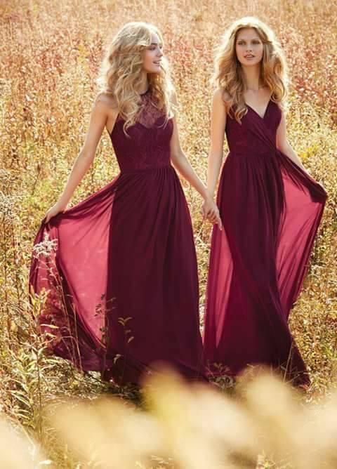 Vestidos de gala y fiesta en color vino tinto | Bodas