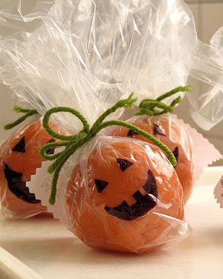 Pumpkin pie playdough instead of candy for a school treat