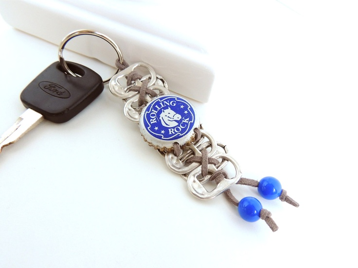 Pop Tab and Bottle Cap Keychain - The Horse - grey and royal blue - eco-friendly/upcycled gifts - under 10 dollars. $7.00, via Etsy.