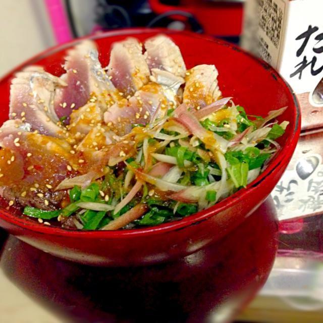 創味焼き肉タレとレモン汁で、これがまた美味しい♪( ´▽`) お酒もごはんもすすみます。 - 55件のもぐもぐ - カツオの土佐造り♪(*^^)o∀*∀o(^^*)♪ by qpchan