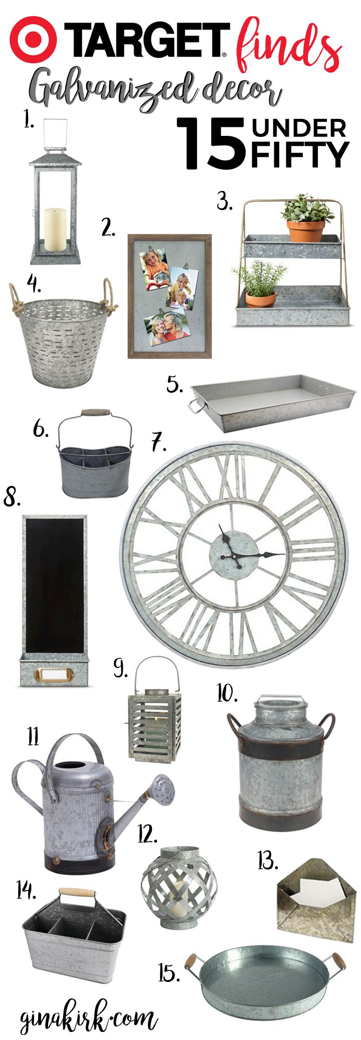 Fixer upper inspired galvanized home decor | Target finds under $50 | Farmhouse design and style inspiration | Fixer upper for less: kitchen, family room, bathroom and more! GinaKirk.com