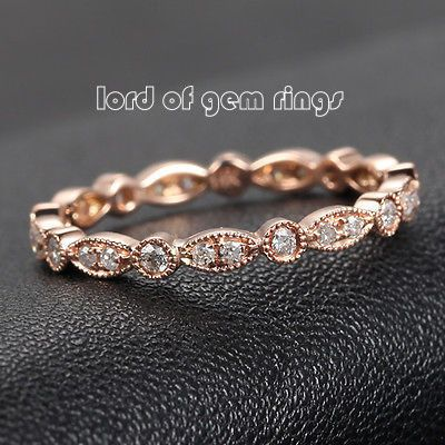$278 Pave Diamond Wedding Band For Women Eternity Anniversary Ring 14K Rose Gold - SI/H Art Deco Antique Milgrain - Lord of Gem Rings - 1