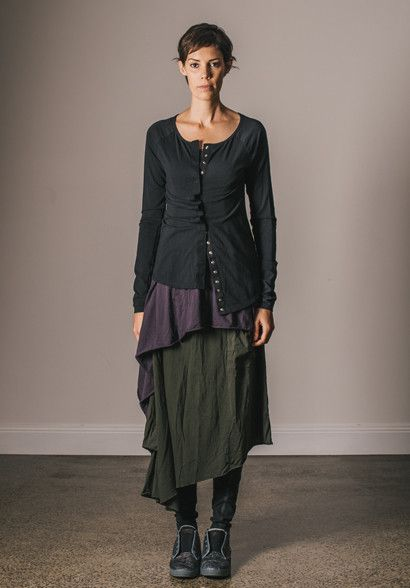 Camille long cardi black over Lisette tunic Holly skirt and Twisted leggings all in organic ...