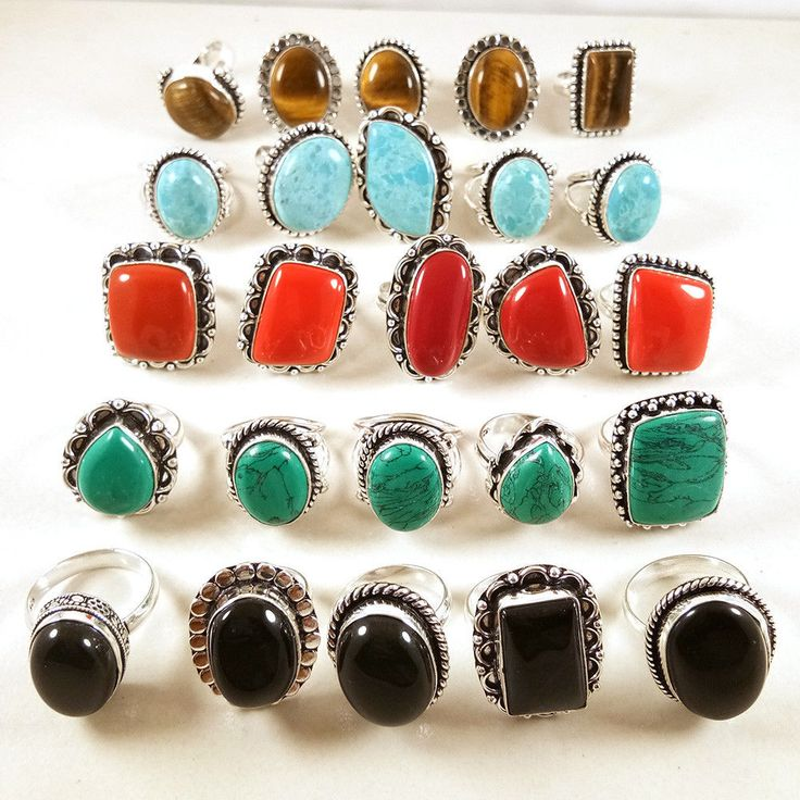 20 PCs Coral,Turquoise,Larimar,Onyx,Tigers Eye Gemstone 925 Silver Plated Rings. #Gajrajgems92_9
