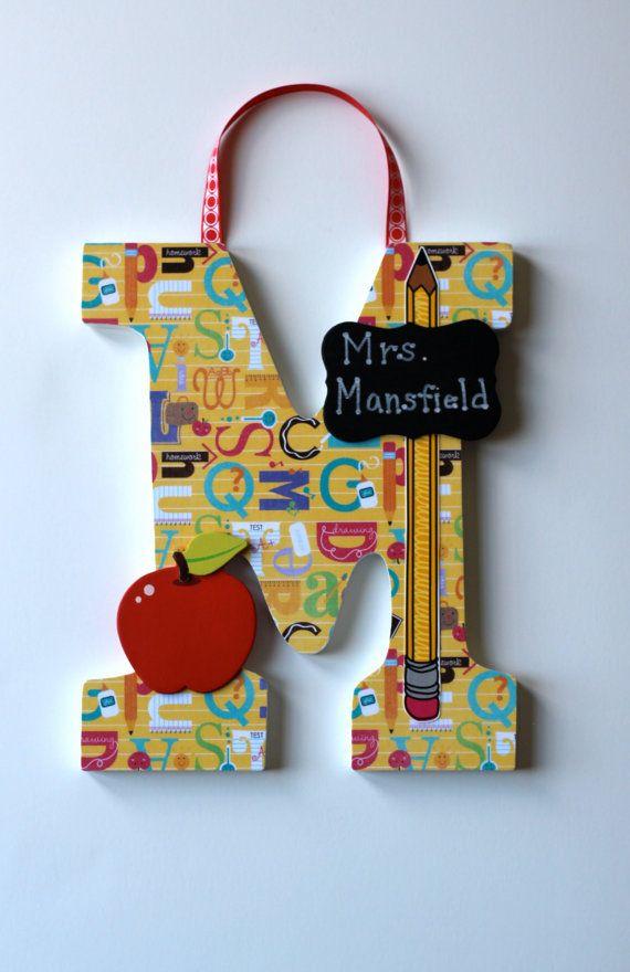 Custom TEACHER Letter Door Hanger:  Teacher, Classroom, Library, School with nameplate, apple, pencil, school bus embellishment