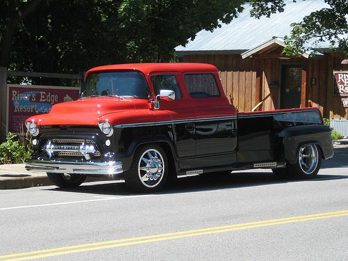1955 LCF ex-Cab p/u - I would love to see someone using a truck like this on a farm! Give it some dings and chips and a scuffed up bed from hauling stuff! YES!