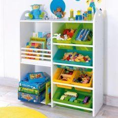 Rangement et gain de place dans la chambre d'un enfant : Etagère de rangement avec bac et espace rangement pour jouets et livres - Décorer
